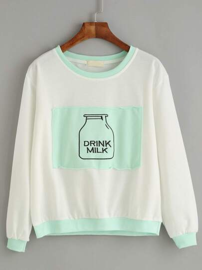 White Contrast Trim Bottle Embroidered Patch Sweatshirt