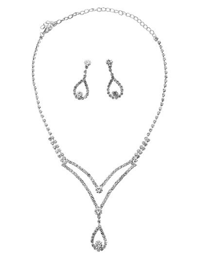 Silver Rhinestone Encrusted Hollow Waterdrop Jewelry Set