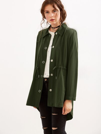 Army Green Embroidery Back Drawstring Dip Hem Coat