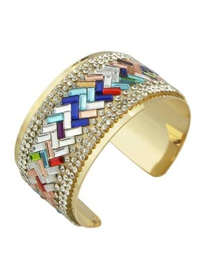 Colorful Rhinestone Wide Cuff Bracelet