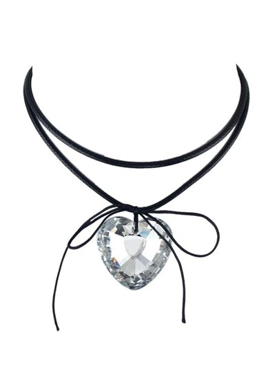 White Gothic Briaided Rope Choker Collar Necklace With Heart Shape Rhinestone