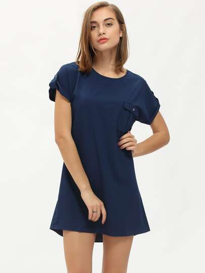 Royal Blue Pocket Zipper Back Shift Dress