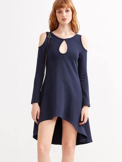 Navy Open Shoulder Keyhole Front High Low Dress