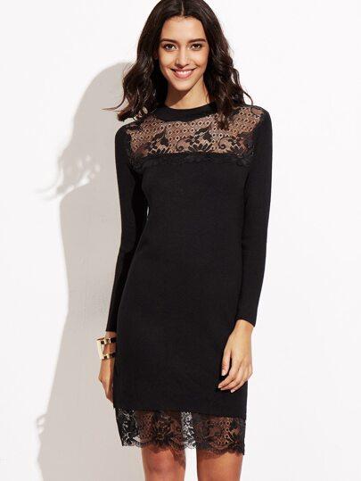 Black Crew Neck Long Sleeve Lace Dress
