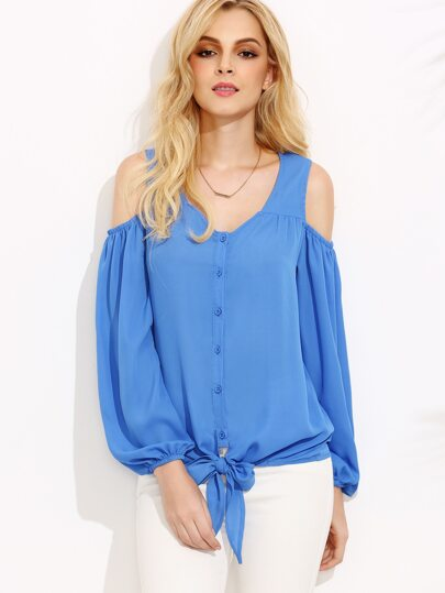 Blue Open Shoulder Lantern Sleeve Tie Front Blouse