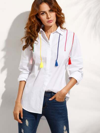 White Tassel Long Sleeve Blouse