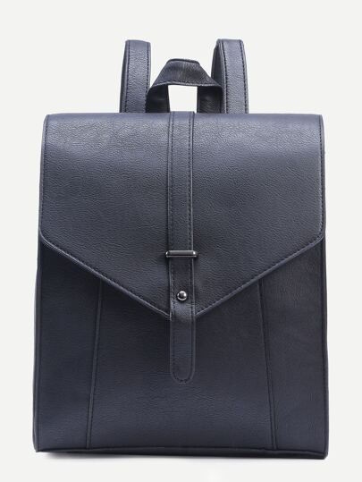 Black Buckle Strap Front Structured Flap Backpack