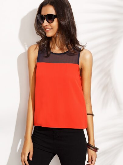 Color Block Round Neck Sleeveless Top