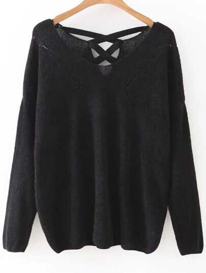 V Neckline Lattice Back Sweater