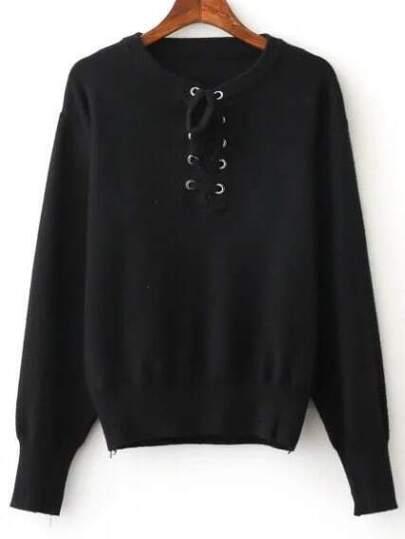 Jersey con cordón - negro