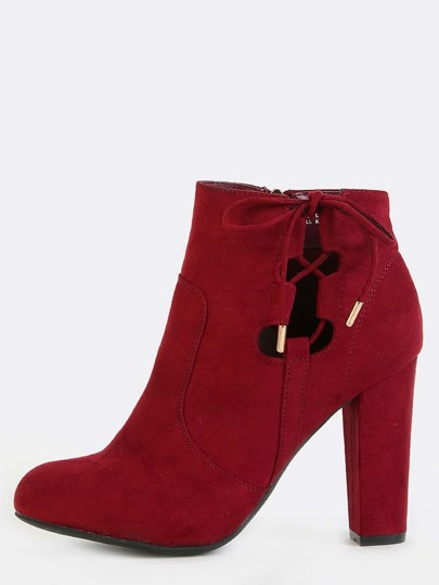 Faux Suede Chunky Heel Ankle Boots BURGUNDY