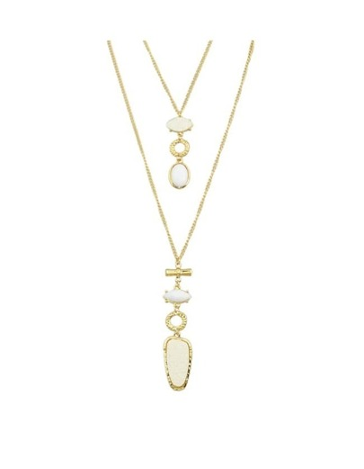 White Double Layers Long Necklace