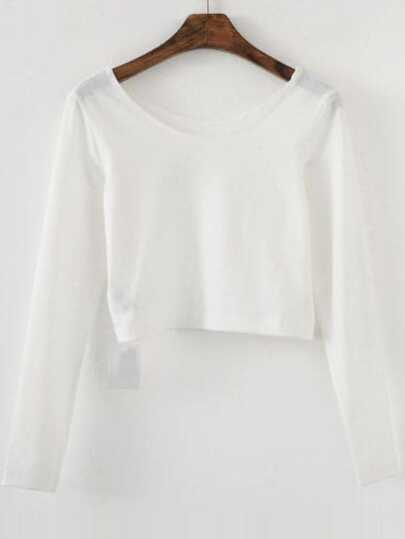 White Long Sleeve Crop T-Shirt