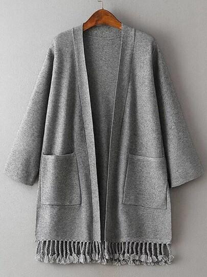 Grey Side Slit Fringe Hem Pocket Cardigan