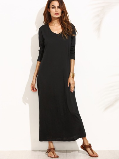 Black Scoop Neck Long Sleeve Shift Dress