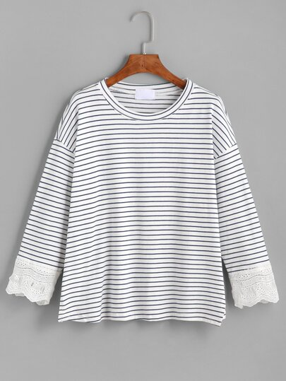 Blue White Striped Crochet Trim T-shirt