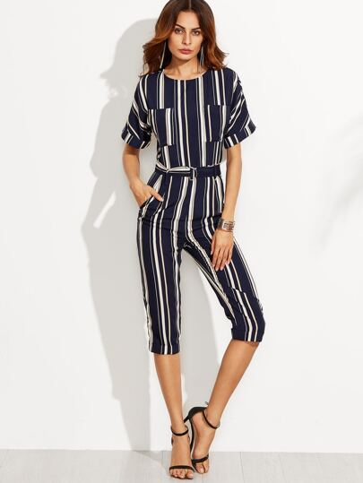 Navy Striped Tie Waist Pockets Jumpsuit