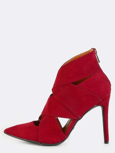 Pointed Toe Stiletto Ankle Booties MERLOT
