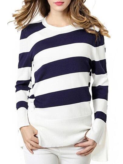 White Color Block Knit Blouse