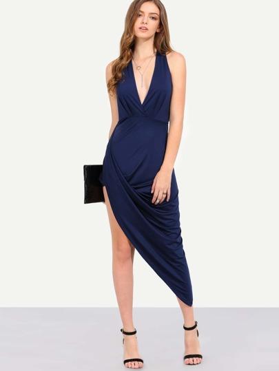 Navy Sleeveless Deep V Neck Asymmetrical Dress
