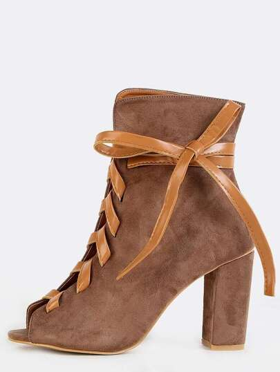 Peep Toe Leather Lace Up Boots TAUPE