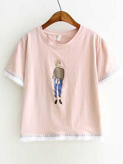 Pink Girl Print Embroidery Fringe Trim T-Shirt
