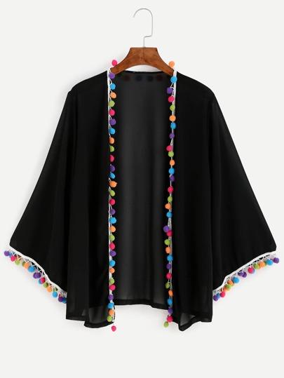 Black Pom Pom Chiffon Kimono