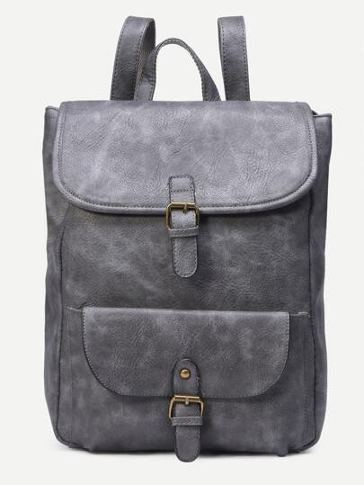 Grey Distressed Faux Leather Buckle Flap Backpack