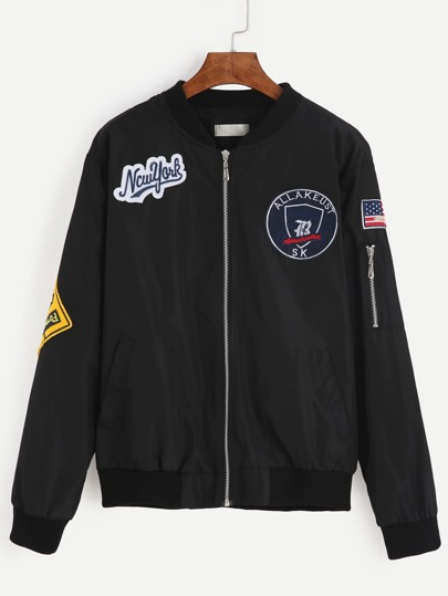 Embroidered Patches Bomber Jacket With Sleeve Zip