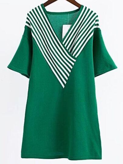 Green Striped V Neck Long Knitwear