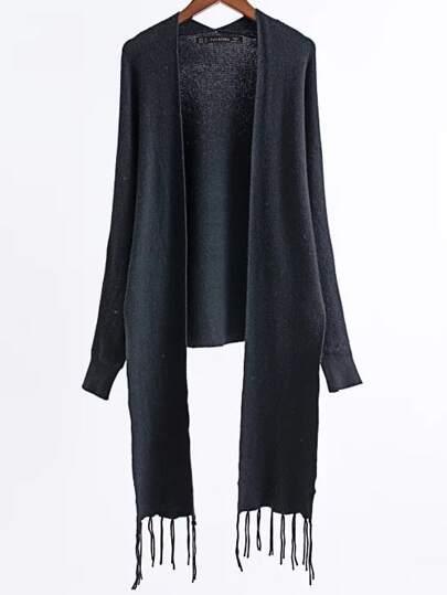 Black Long Sleeve Fringe Poncho Sweater