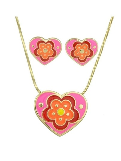 Orange Enamel Flower Pattern Heart Necklace Earrings Set