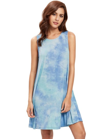 Girocollo inchiostro di stampa tie-dye Dress Casual