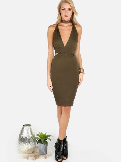 Wrap Gathered Bodycon Dress OLIVE