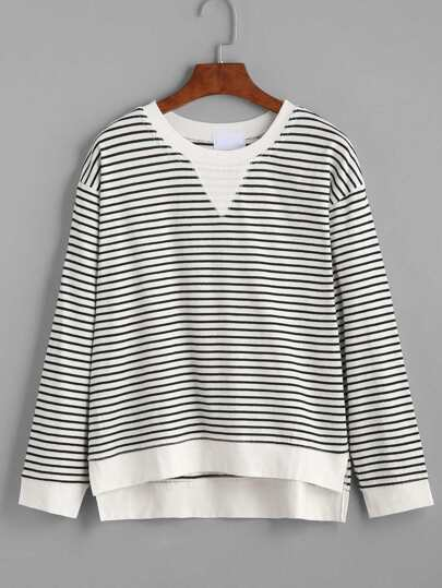 Contrast Striped Slit Side Dip Hem T-shirt