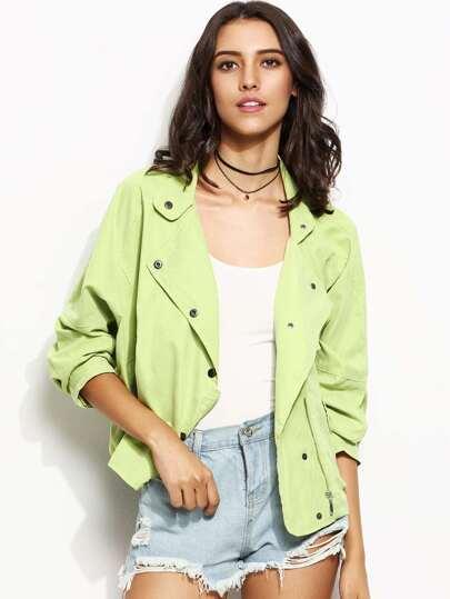 Green Drop Shoulder Snap Button Zipped Jacket
