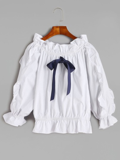 White Lantern Sleeve Bow Tie Ruffle Top