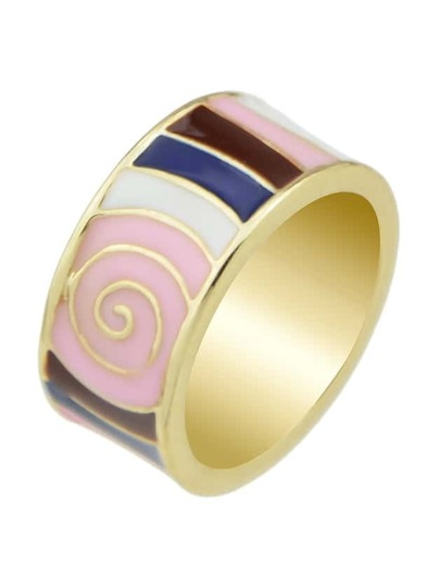 Pink Stripe Pattern Round Finger Ring