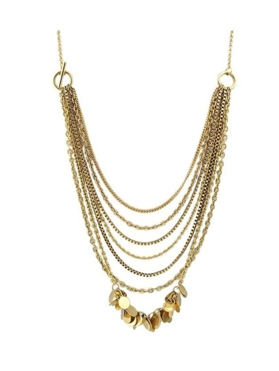 Gold Color Multilayers Statement Chain Necklace