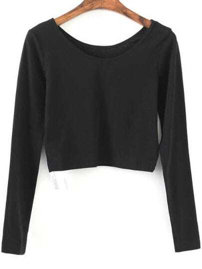 Black Long Sleeve Crop T-Shirt
