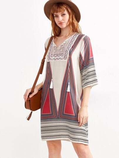 Geometric Print Lace Up Fringe Shift Dress