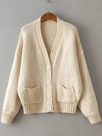 Beige Ribbed Detail Drop Shoulder Button Up Sweater Coat With Pockets