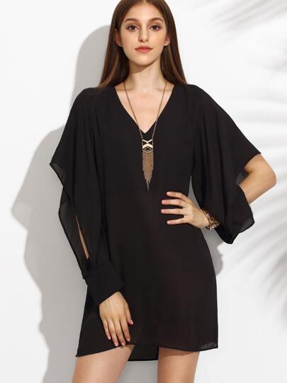 Black V Neck Slit Sleeve Chiffon Dress