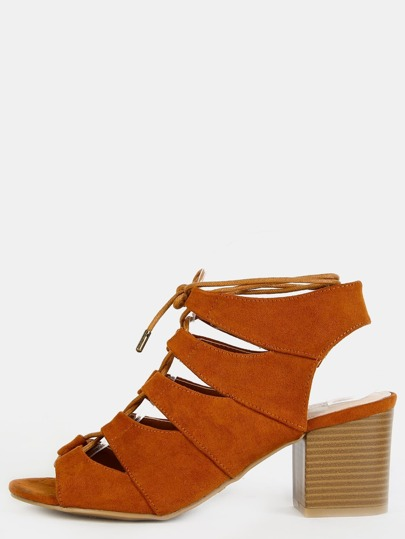 Open Toe Stacked Heel Heels CHESTNUT