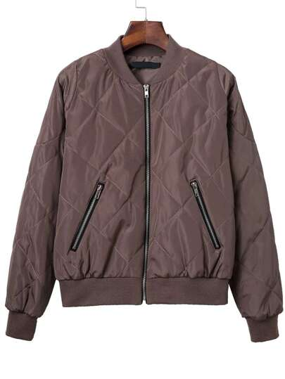 Brown Diamond Quilted Bomber Jacket With Zipper