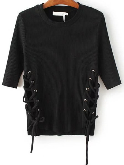 Black Lace Up Dip Hem Ribbed Knit Sweater