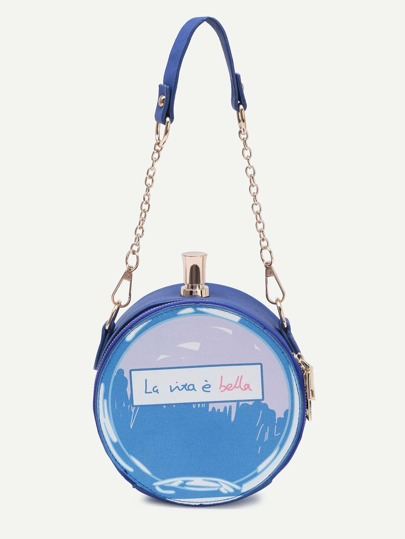 Blue Letter Print Round Crossbody Bag With Chain Strap