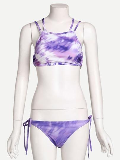 Tie Dye Print Cutout Crisscross Bikini Set