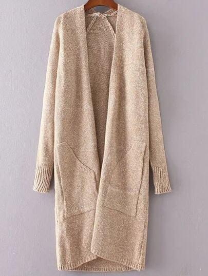 Khaki Collarless Raglan Sleeve Long Sweater Coat With Pockets