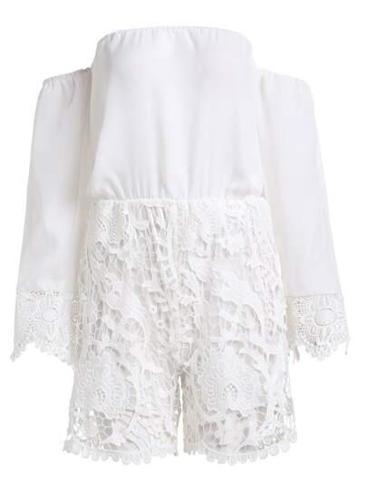 White Off The Shoulder Crochet Overlay Romper